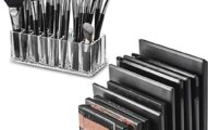 byAlegory Set of (1) Acrylic Makeup Brush Organizer w/Deep Slots & (1) Acrylic Makeup Eyeshadow Palette Organizer w/Removable Dividers For Cosmetic Product Storage- Clear