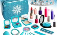 Fabely Washable Kids Makeup Kit Pretend Play Toy Frozen Toys for Girl Real Makeup Washes Off Easily Toddler Makeup Toy for 4 5 6 7 8 Years Old Little Girls