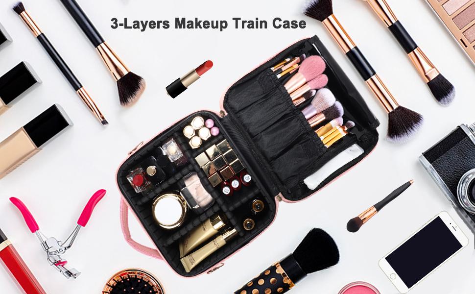 Travel Makeup Train Case Makeup Cosmetic Case Organizer Portable Artist Storage Bag with Adjustable