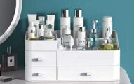 MIUOPUR Makeup Organizer for Vanity, Large Capacity Desk Organizer with Drawers for Cosmetics, Lipsticks, Jewelry, Nail Care, Skincare, Ideal for Bedroom and Bathroom Countertops - Large White