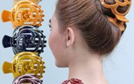 RC ROCHE ORNAMENT 6 Pcs Womens Stylish Rose Dome Comb Clamp Shell Plastic No Slip Strong Secure Grip Side Slide Bun Maker Beauty Accessory Hair Clip, Large Classic Multicolor