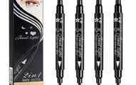 "Black Liquid Eyeliner & Stamp Set - 4 PCs Winged Eyeliners and 4 Shapes Stamps, Dual ended 2-in-1 Eye Makeup Pen by ""wonder X"""
