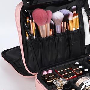 Rose gold Professional Makeup Train Case Cosmetic Brush Organizer Portable Artist Storage bag